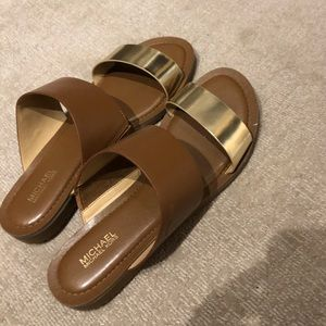 Michael Kors Brown and Gold Slide Sandals Size 7.5